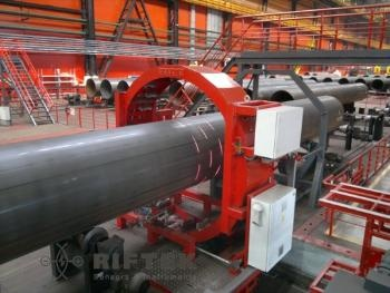 Laser scanners make it possible to measure the shape of large diameter pipes on conveyor